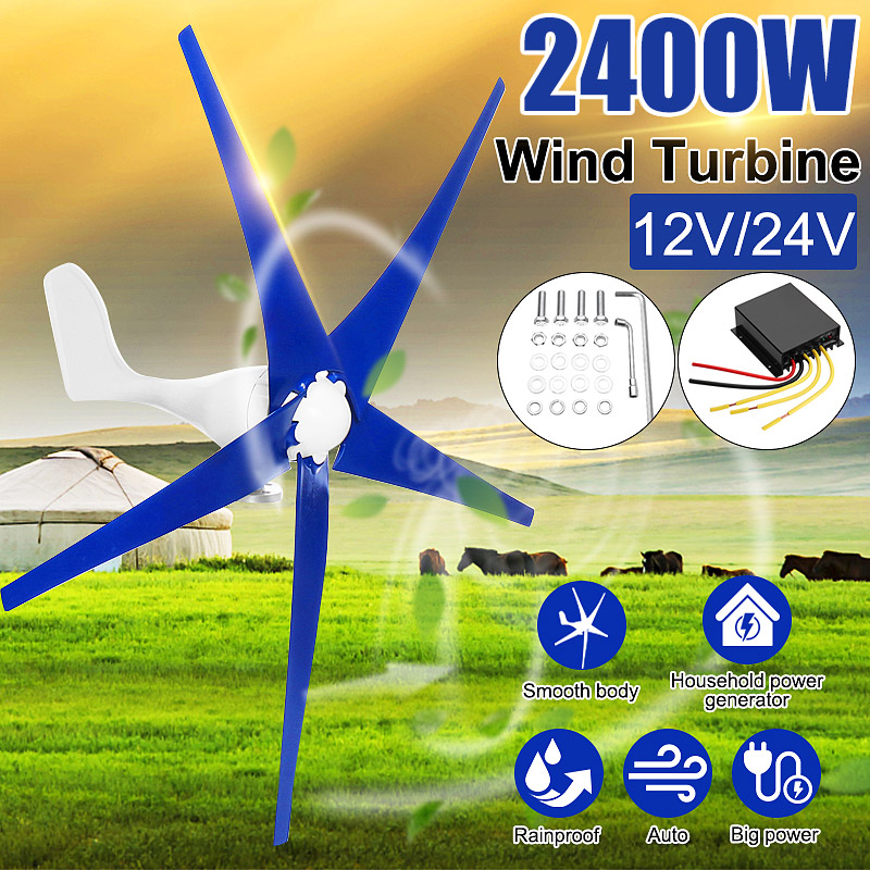 El más nuevo 2400 W de 24 voltios 12 V generador de las turbinas de viento 3/5 viento hojas de molino de viento de energía turbinas de carga para casa o Camping