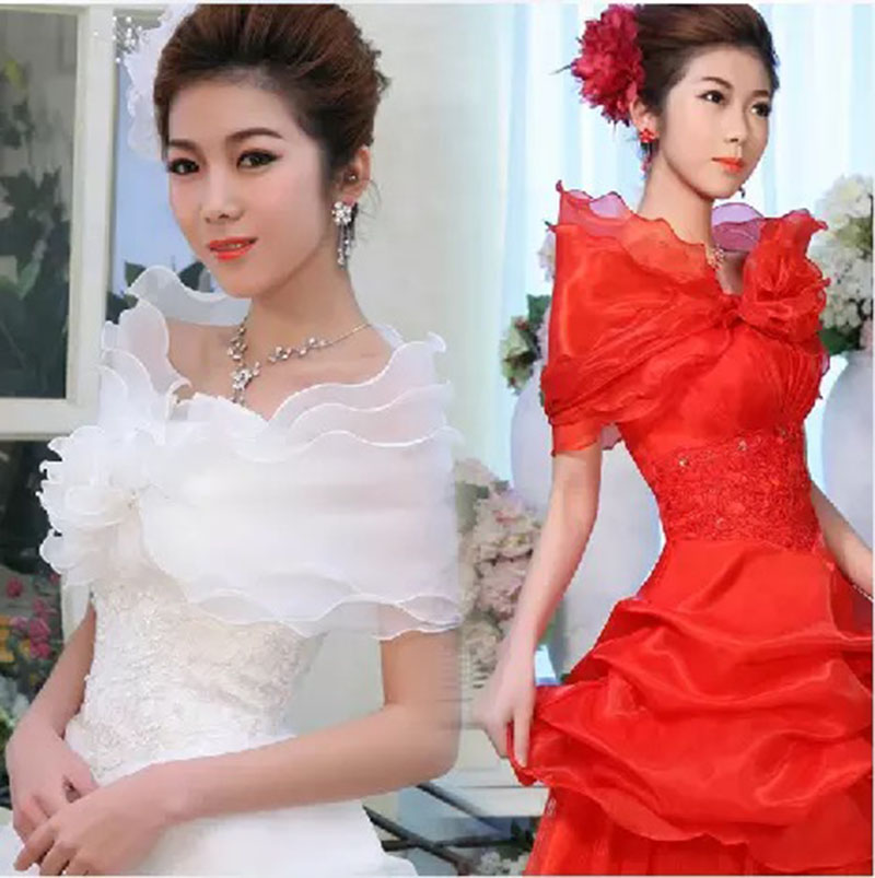 Casual Wedding Wrap Three Layers Bridals Jacket Wraps Ruffles White Organza Women Off The Shoulder Wrap Shrug 2018 ...