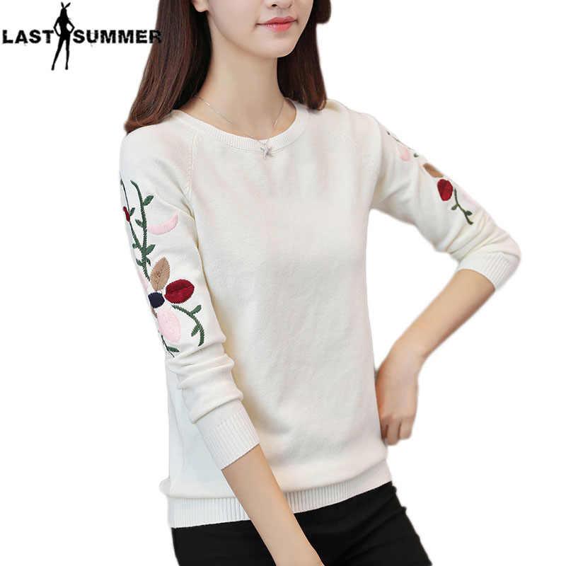 Neue Mode 2019 Frauen Herbst Frühling Stickerei Blume Pullover Pullover Casual Warme Weibliche Gestrickte Pullover Pullover Dame