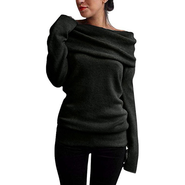 a6f415d0c61 Anself 5XL Plus Size Women Clothing Off Shoulder Sweater Cowl Neck Long  Sleeve Knit Pullover Jumper Top Autumn Warm Knitwear