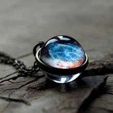 Double-sided Glass Ball Pendant Time Gem Universe Handmade Custom Star Necklace