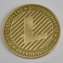 Size 40mm/3mm 24K Gold Plated Litecoin Coin Cryptocurrency Metal For Gift and Collection