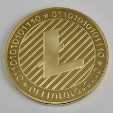 Taille 40mm/3mm 24K | Litecoin plaqué or, pièce de monnaie de cryptomonnaie en métal pour cadeau et Collection