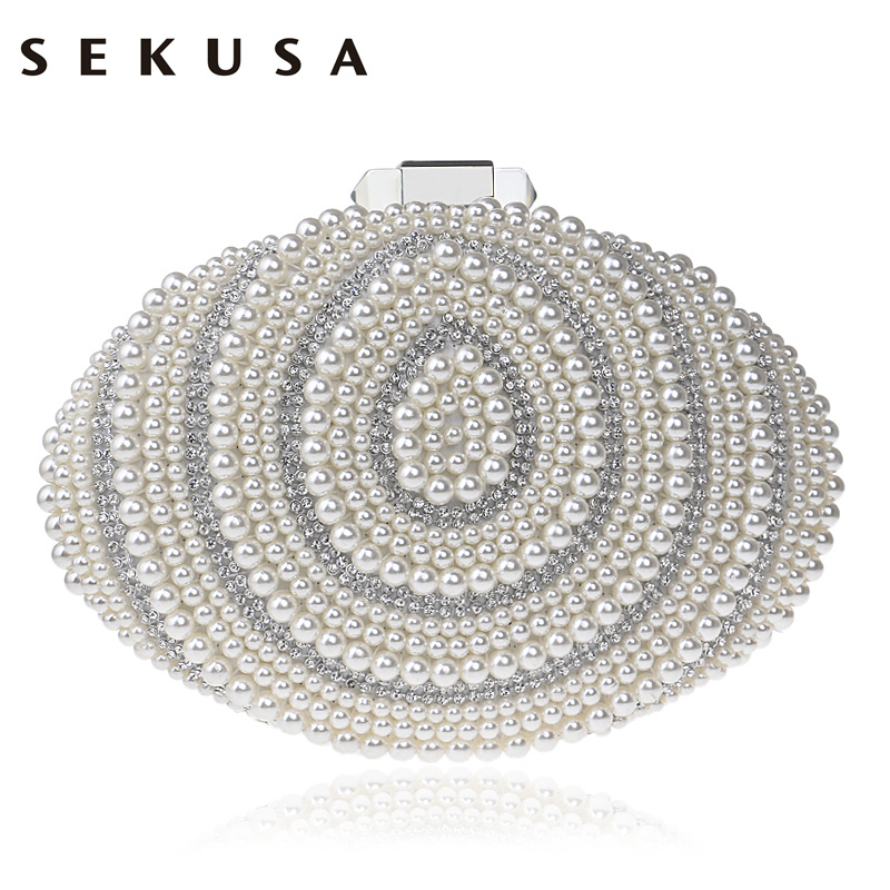 SEKUSA Egg Beaded Women Evening Bags Rhinestones Pearl Day Clutch Chain Shoulder Small Purse PU Fashion Handbags/Evening Bag sekusa women evening bags chain shoulder messenger bag beaded rhinestones handbags with handle day clutches for wedding