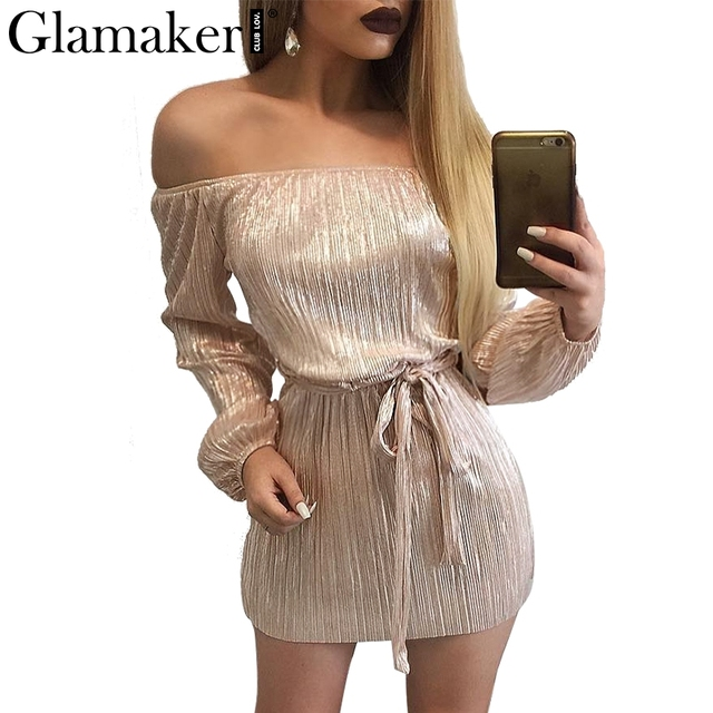 Glamaker Sexy off shoulder autumn dress Women bow belt wrap short dress Elegant black dresses prom evening party vestidos