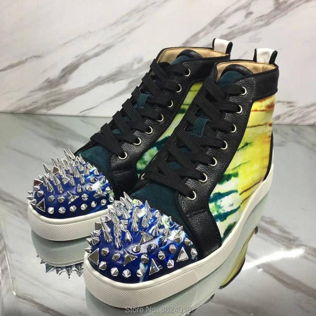 9d06f811ff1a clandgz Men forest Rainbow colors Lace-up High quality Messy rivet Red  bottom Sneakers Leather