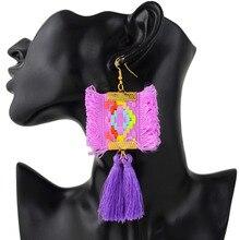 Фотография ZIVangela Boho Unique Hand-woven Statement  Fringed Earrings Jewelry Fashion Careful Tassel Earring  For Women Girl Accessories