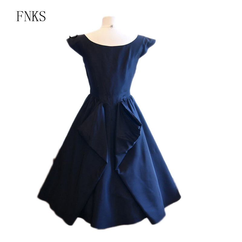 Vintage 1950s Evening Dresses with Cap Sleeves Lace Appliqued A line Satin  Navy Blue Party Dress Ruffles Tea Length Prom Dress on Aliexpress.com  96629f5b817c