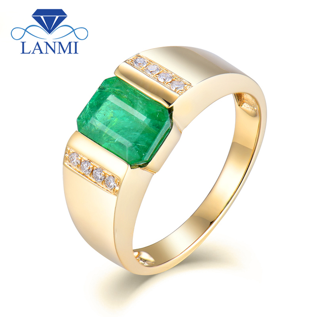 Vintage Emerald 5x7mm Solid 18kt Yellow Gold Natural Emerald