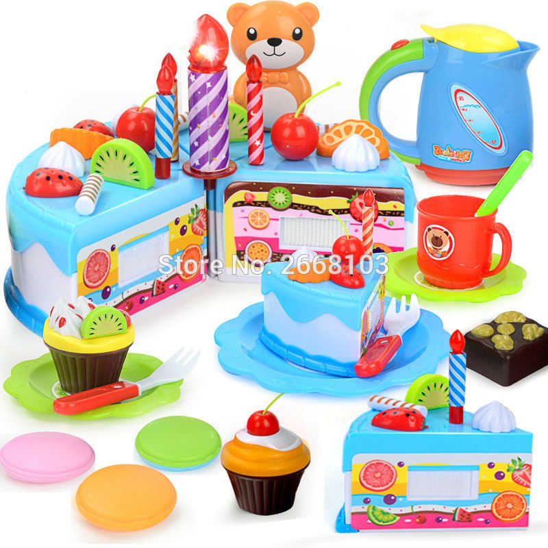 Cake Toy 55PCS/Set Fruit Girl Children House Kitchen Pretend Play Food Birthday Cake DIY Educational cutting toys for Kids Gifts