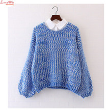 Discounts 40% Cute Preppy Girls Lantern Sleeve Round Sweaters Inside Knitshirt Sweaters and Pullovers