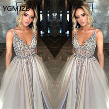 Sexy Long Evening Dresses 2019 A-line V-neck Sleeveless Beaded Crystal Tulle Saudi Arabic Women Formal Prom Gown Party Dress цена и фото