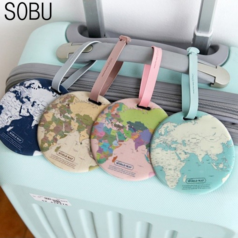 2019 Travel Accessories Luggage Tag Creative Casual Map Silica Gel Suitcase Id Address Holder Baggage Boarding Tag Label H135