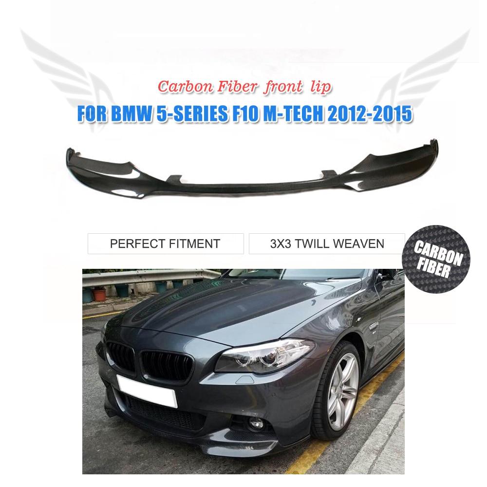 Plain Weave Carbon Fiber Front Bumper Guard Lip Spoiler Aprons Chin For BMW 5 Series F10 M-Sport Bumper 2012-2015 V Style