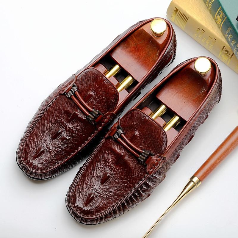 Crocodile Pattern Men Dress Shoes Genuine Leather Italian Formal Oxford Casual Fashion Business Shoes Office Shoes in Formal Shoes from Shoes