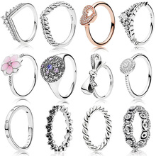 Classic Silver Rings With Crown Bow Flower Love Crystal Wedding & Party Wide Ring For Women Jewelry недорого