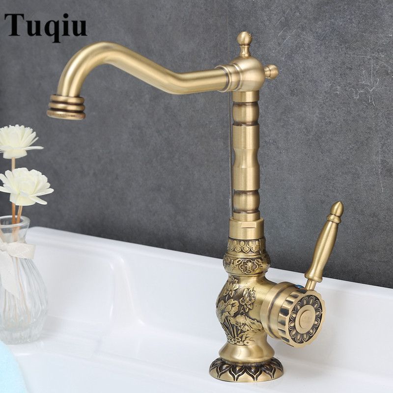 Basin Faucet Antique Brass Sink Faucet Carved Bathroom Faucet Copper Tap Rotate Single Handle Hot Cold