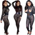 Womens Sexy Black Lace Long Sleeve Sheer Bodycon Jumpsuit Adult Clubwear Long Pants Body Suit With Belt