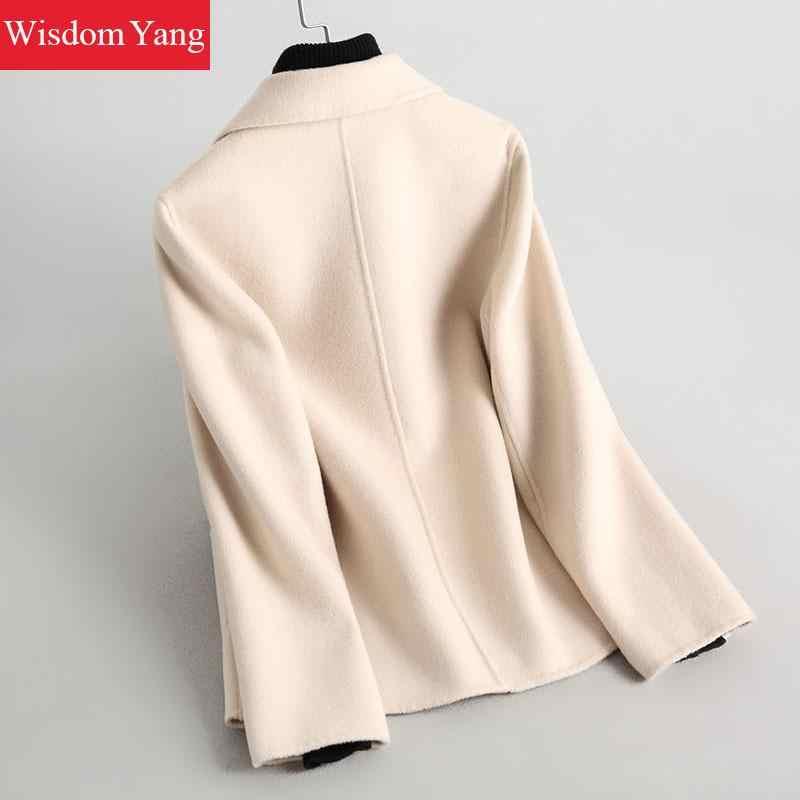 Зимнее пальто белый розовый карамель верблюд Обувь с овечьей шерстью кашемировые пальто женские офисные костюм теплый 2019 шерстяная Верхняя одежда уличная одежда