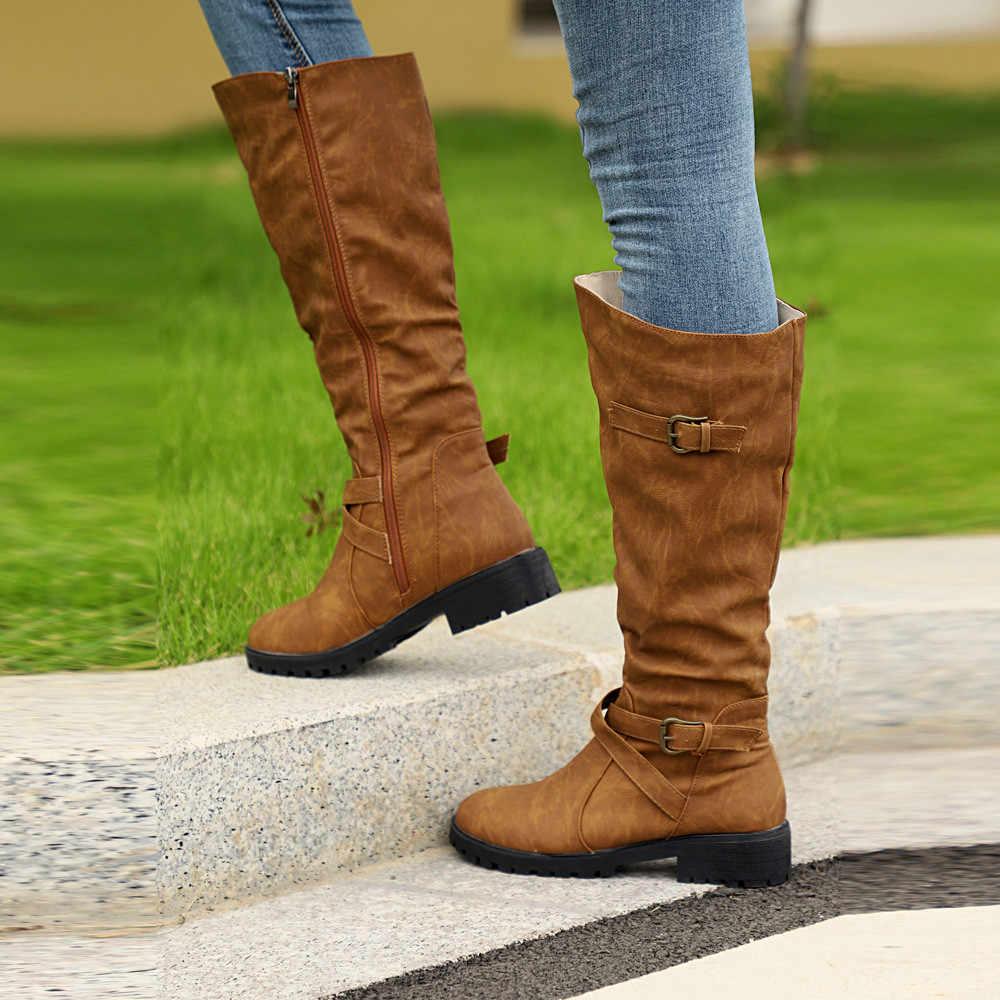 Artı Boyutu 35 ~ 43 Ayakkabı Kadın Diz Yüksek Buzağı Biker Boots Bayanlar Zip Punk Askeri Savaş asker botu Bayan Botları zapatos de mujer
