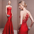 New Red Mermaid Evening Dresses 2016 Fashion Appliques Lace Long Evening Party Dress Formal See Through Mermaid Evening Dresses