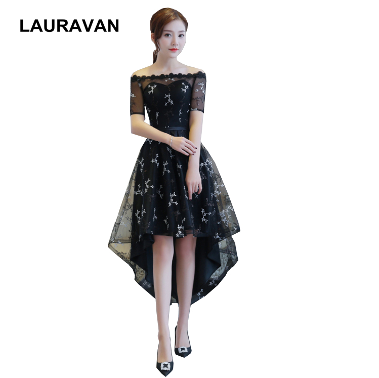 formal girl off shoulder short front long back high low new arrival boat neck   bridesmaid     dress   black   dresses   women 2019