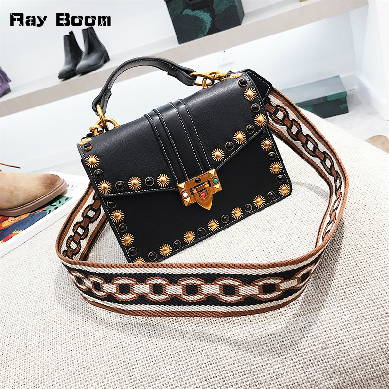 Fashion Brand Square Small Bag Female 2018 New Vintage Rivet Hand Bags Women Shoulder Bag High Quality PU Leather Girl Bag
