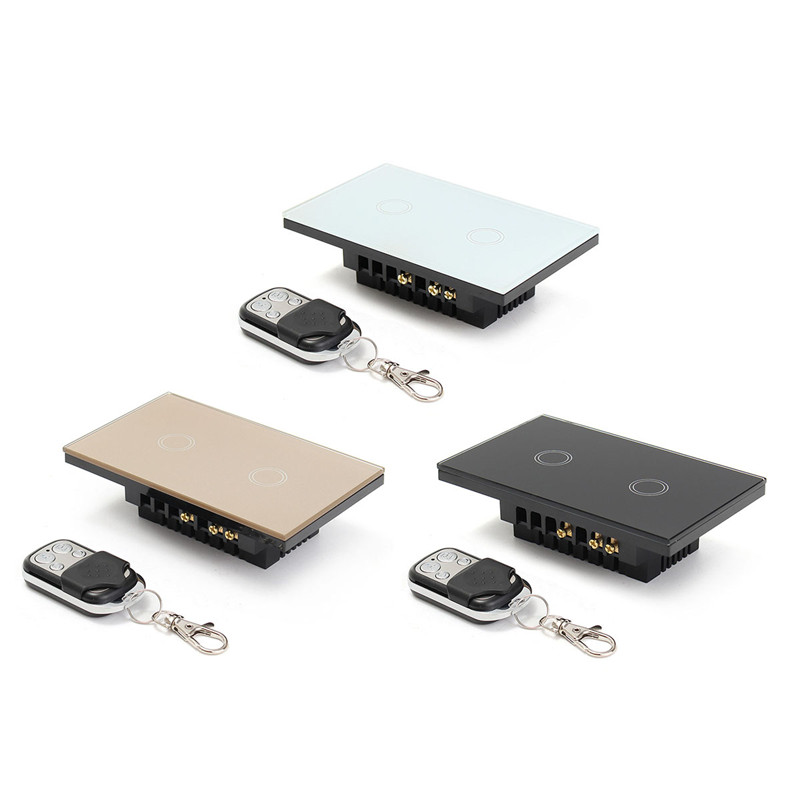 US Standard Remote Control Switch 2 Gangs 2 Way, Smart Wall Light Switch, Wireless remote control touch light switch eu us smart home remote touch switch 1 gang 1 way itead sonoff crystal glass panel touch switch touch switch wifi led backlight