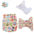 Babyshow Reusable Cloth Diaper Fralda  Gladbaby Owl Printed Cute Animals Merries Diaper Insert 13.5*35cm 3Layer Microfiber Nappy