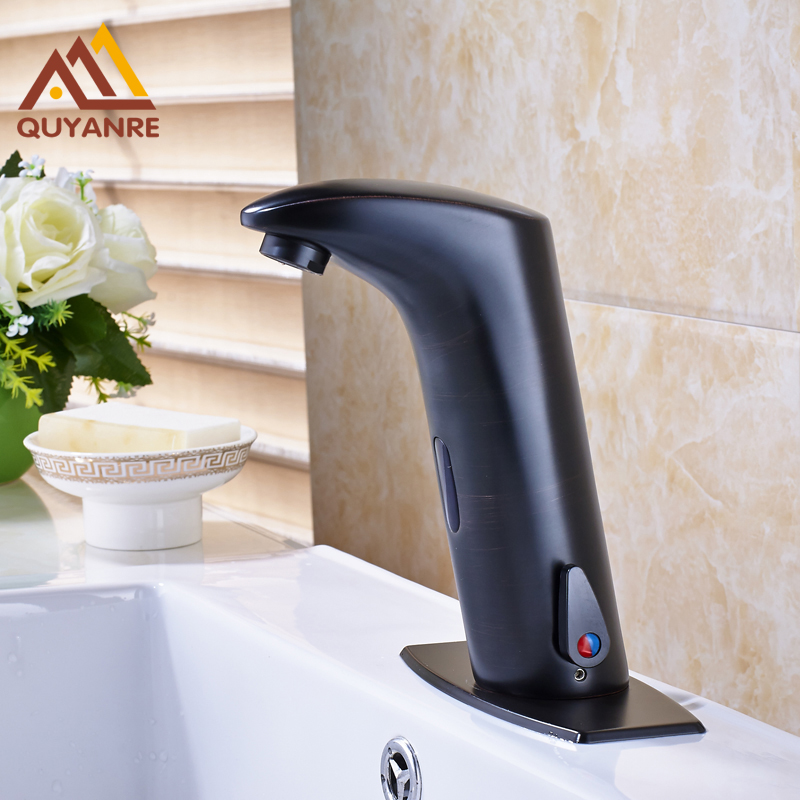 Blackened Finish Basin Sink Sense Faucets Automatic Sensor Hand Touch Tap Hot and Cold Mixer Sensor Faucet