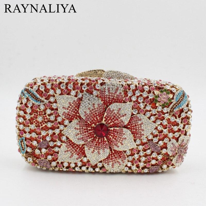 Famous Designer Brand Clutch Bag For Women Red Box Clutch Rhinestone Crystal Evening Bags Mini Size Clutch SMYZH-E0307 clutch emilio masi clutch