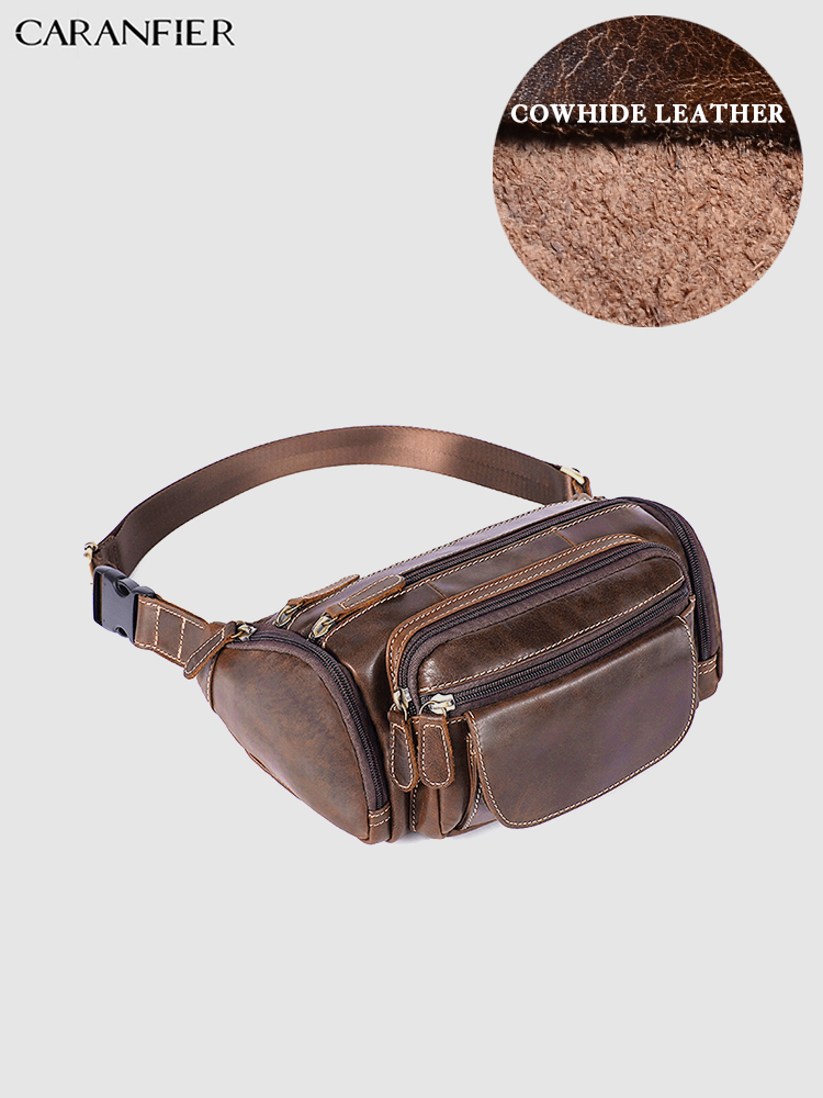CARANFIER Mens Waist Bags Genuine Cowhide Leather Messenger Bag Shoulder Large Capacity Outside Business Leisure Chest BagsCARANFIER Mens Waist Bags Genuine Cowhide Leather Messenger Bag Shoulder Large Capacity Outside Business Leisure Chest Bags