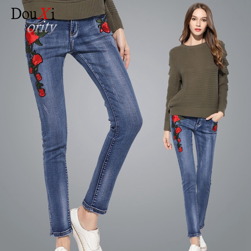 2017 Women Jeans Embroidery Casual Pants Elastic Stretch Skinny Slim Hip Up Mid-Waist Cowboy Pencil Pants Female Denim Trousers free shipping wild cat limited edition vintage pin up skinny pencil pants high waist hip up cotton denim pants women slim jeans