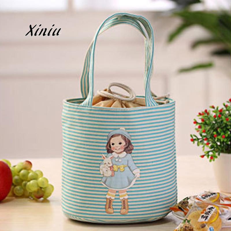 Cute Girls Printing Drawstring portable Lunch Bag Thermal Insulated Box Tote Cooler Bag Bento Pouch Lunch Storage Case BU lazylife 18l top quality fashion portable insulated lunch bag thermal food picnic lunch bags for women kids men cooler lunch box