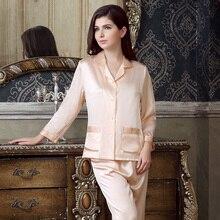 Pyjamas Women Silk Pajamas Sets 100% Silk Pajamas Sets Shirt + Pant 2pcs Ladies Summer Sleepwear Free Shipping