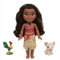 Disney Boneca Vaiana moana figures necklace lecture singing music doll cosplay princess model cartoon toy children gift