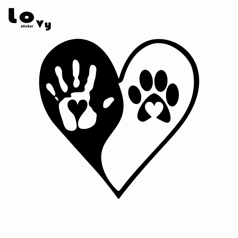 Yin Yang Heart Hand Dog Paws Print Vinyl Car Sticker Funny Cartoon Dog Car Decal For Car Door Window Decoration Ca0207 Elegant In Smell Automobiles & Motorcycles Exterior Accessories