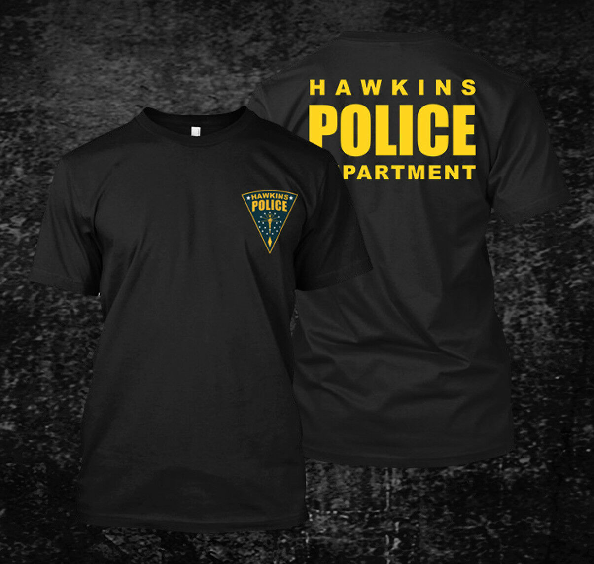 2019 Funny Hawkins Police Department - Custom Men'S Black T-Shirt Tee Double Side Unisex Tee