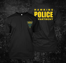 2019 Funny Hawkins Police Department - Custom MenS Black T-Shirt Tee Double Side Unisex