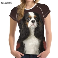 FORUDESIGNS Cute 3D King Charles Spaniel Dog/Puppy Print O Neck T shirts Brand Design Short Sleeve Tees Fashion Summer T Shirts