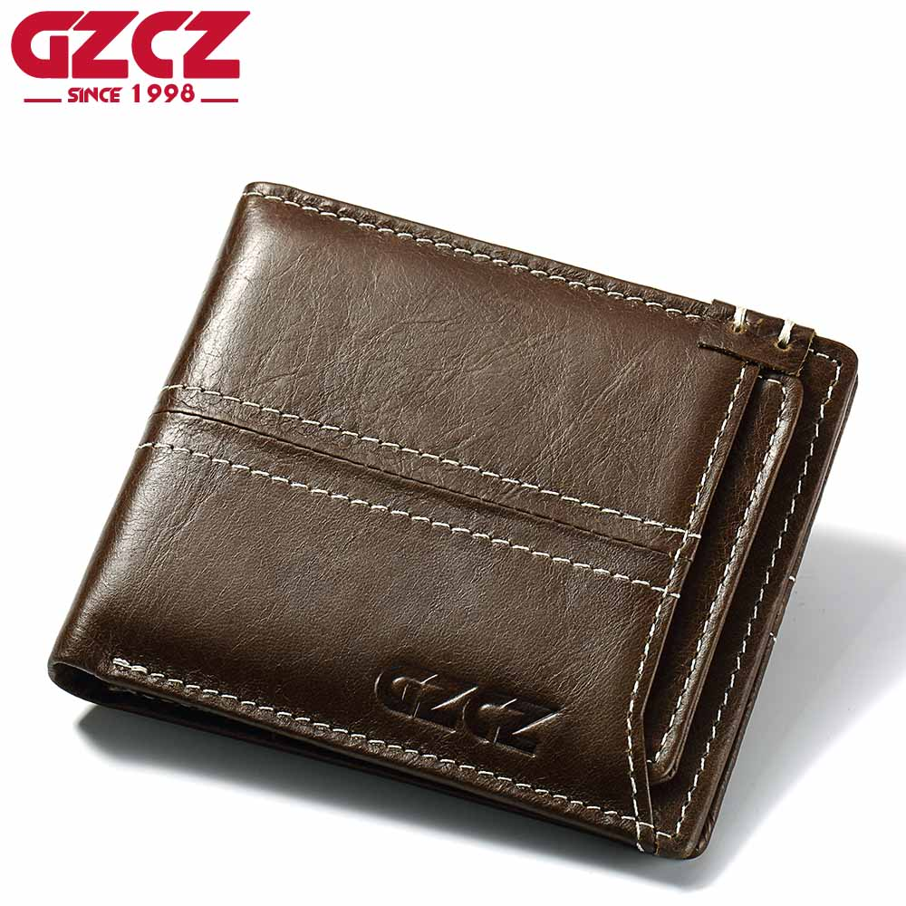 GZCZ Coin Purse Men's Genuine Leather Wallet Men Card Holder Male Clutch Bifold Small Vallet Slim Money Bag PORTFOLIO MAN williampolo mens mini wallet black purse card holder genuine leather slim wallet men small purse short bifold cowhide 2 fold bag