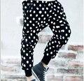 Нет связанные с основной Dot свободного покроя крестики брюки мужские шаровары прилив вилочная часть корейский приталенный брюки ноги брюки узор в горошек