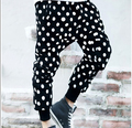 Non-mainstream personality dot casual cross pants mens harem pants tide male Korean Slim pants feet trousers plus size Polka Dot