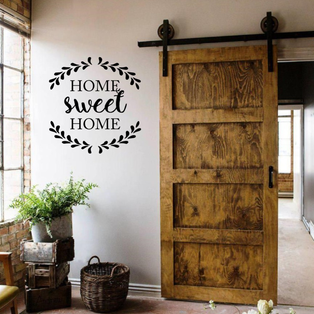 Order 11 Square Feet Home Sweet Home Quote Decal Home Decoration Door Rustic Cottage Wall Stickers Vinyl Creative Design Family