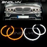 LED Cotton Light Angel Eyes Switchback DRL Halo Kit For BMW E53 X5 1999 2003 Auto Cars Headlight Accessories Retrofit DIY Style