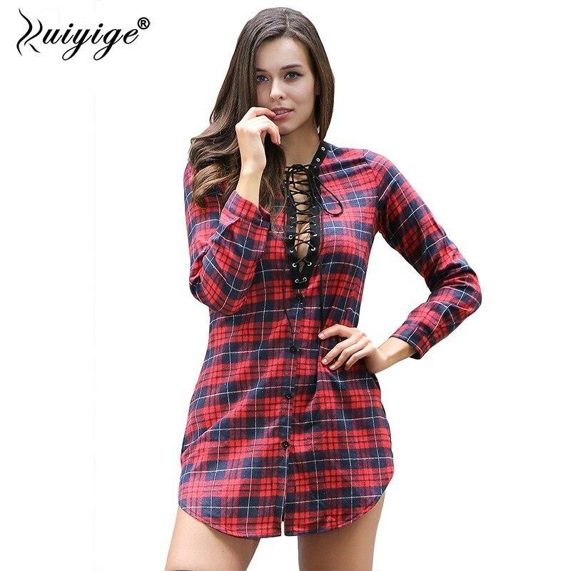 3ea3b22dae Ruiyige 2018 Women Plaid Shirts Casual Long Sleeve Shirts Women Tops Blusas  Print Sexy V Neck Female Sexy Slim Straight