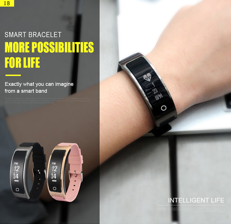 Smartch I8 Smart Bracelet Talk Band Heart Rate Blood Pressure Oxygen Pedometer Bluetooth smartband watch Than Huawei B3 1