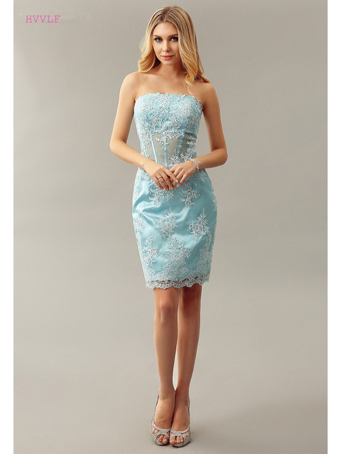 Sky Blue 2019 Elegant Cocktail Dresses Sheath Strapless Short Mini Appliques Lace Party Plus Size Homecoming Dresses