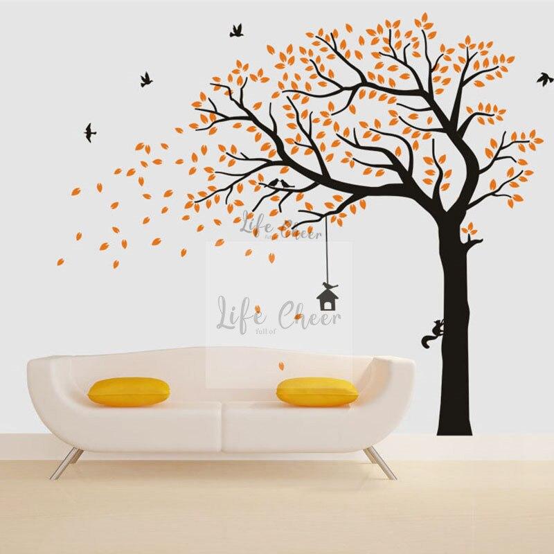 Automne arbre vinyle mur autocollant oiseaux volants avec grande taille mur Art décalcomanie énorme voiture papier peint enfants chambre forêt DecorAC205
