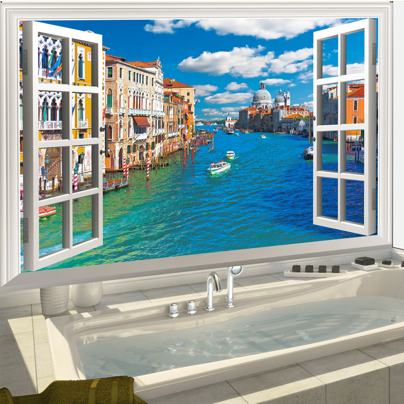 Creative Mediterranean fake window wall stickers living room TV sofa ...